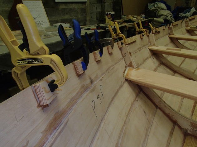 Short blocks glued and clamped, starboard side